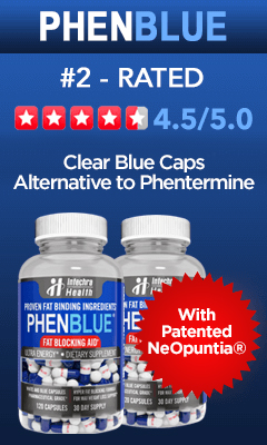 #2 Rated Diet Pill PHENBLUE with stars rating
